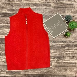 Pendleton Red Cable Knit ZIP Up Lambs Wool Vest